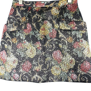 CLUB MONACO Floral Textured Quilted Tapestry Skirt